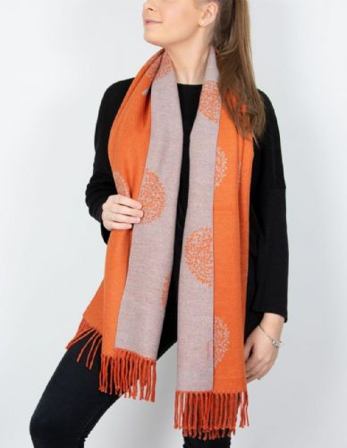 Reversible Mulberry Tree Pashmina & Scarf  - Orange & Grey